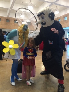 This was the first characters I was brave enough to ask for a picture with. As you can see our supergirl didn't know what to do with herself!