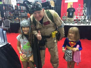 While I was at a booth nursing my baby, my husband a kids ran into a ghost buster! (supergirls face is priceless)
